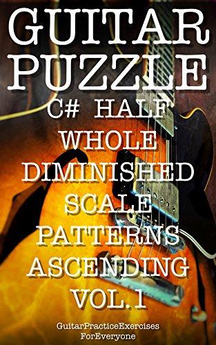 GUITAR PUZZLE C# HALF WHOLE DIMINISHED SCALE PATTERNS ASCENDING VOL.1