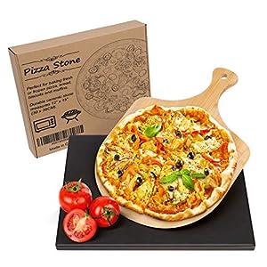 Wemk Pietra refrattaria per Pizza, Pietra per Pizza da Forno in Ceramica Cordierite, Pala in bambù, Cottura Fino a 800…