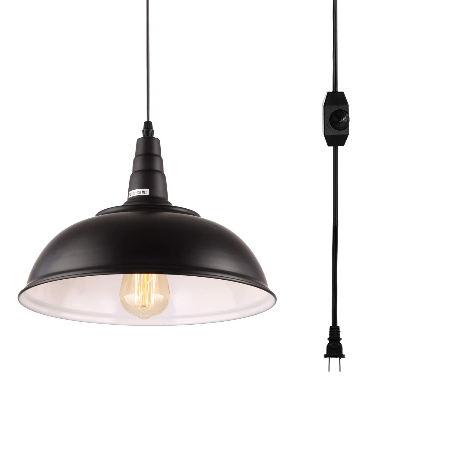 HMVPL Plug in Pendant Lights with 16.4 Ft Hanging Cord and On/Off Dimmer Switch, Upgraded Industrial Metal Swag Ceiling Lamp for Dining Room, Bedroom, Barn, Kitchen Island Table, Sink, Hallway