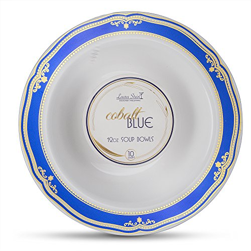 Cobalt Blue Rim Soup - Laura Stein Designer Tableware Premium Heavyweight 12 Ounce White Bowl And Blue & Gold Border Plastic Party & Wedding Dessert Bowls Cobalt Blue Series Disposable Dishes Pack of 40 Soup Bowls