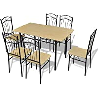 Anself 7pcs Dining Set Table and Chairs for 6 Person Light Brown