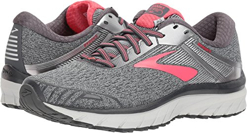 (Brooks Women's Adrenaline GTS 18 Ebony/Silver/Pink 10 D US D - Wide)