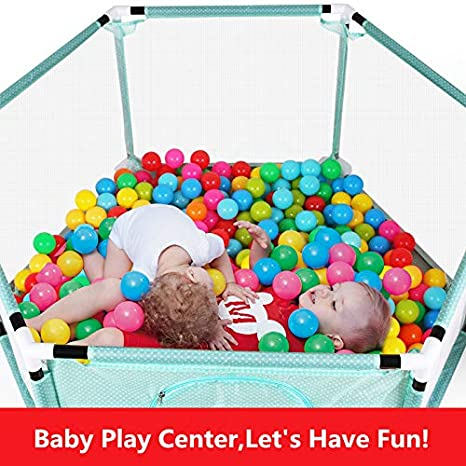 Indoor- und Outdoor-Spiele Spielplatzzaun f/ür Kinder mit Laufgitter B/älle nicht enthalten Zaun Spielcenter tragbar mit Tragetasche und atmungsaktivem Mesh f/ür Neugeborene