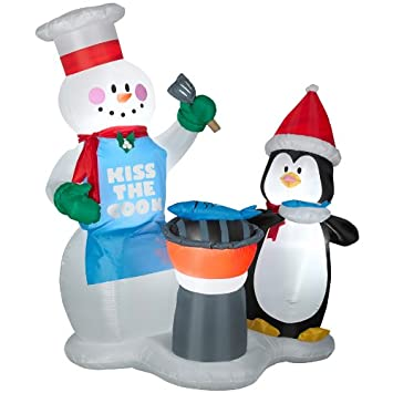 holiday living 6 ft inflatable airblown snowman and penguin outdoor christmas decoration with incandescent white - Penguin Outdoor Christmas Decorations