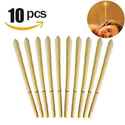 Vzoo All Natural Beeswax Cylinders Candling Cones 100% Non-Toxic Beeswax Candles Lower Smoke - 10 Pack