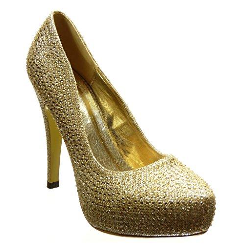 Angkorly - Scarpe da Moda scarpe decollete stiletto sexy da sera donna strass paillette Tacco Stiletto tacco alto 12 CM - Oro