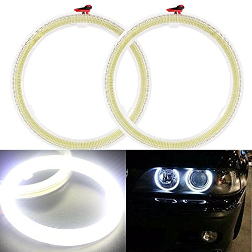 Everbrightt 1-Pair White 80MM 63SMD COB LED Angel Eyes With SHELL Halo Ring Bulb Fog light Lamps For Car (Fog Lights Eye Angel compare prices)