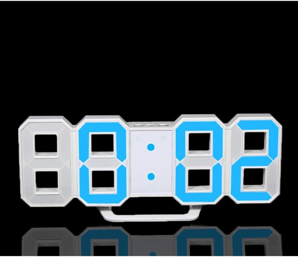 LED Digital Alarm Clock 3D moderne Table Bureau Nuit Horloge murale affichage pour Bureau Chambre Blue Light