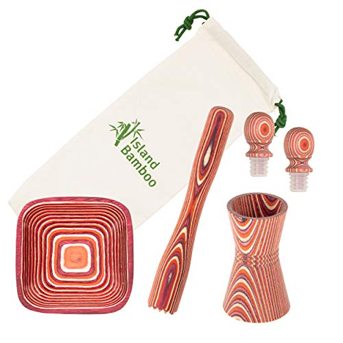 Island Bamboo Pakkawood 6-Piece Bar Set - Exotic Pakka Double Measuring Jigger, Muddler, 2 Bottle Stoppers, Bottle Opener, Pinch Bowl - Cocktail Barware Tools for Gifts, Entertaining & Parties (Red)