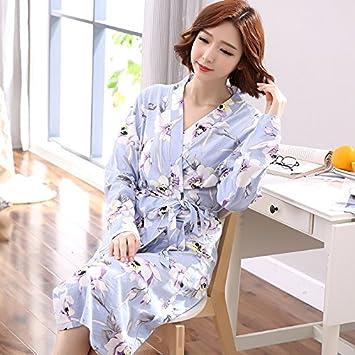 HUAIX Home Camisón Mujer otoño algodón de Manga Larga Batas largas Hotel salón de Belleza con