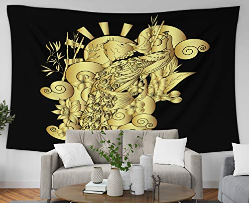 Pamime Hanging Wall Tapestry, Home Decor Tapestry Gold Peacock Koi Carp Fish Cherry Blossom Bamboo Clound Backgroundgo Dorm Room Bedroom Living Room 80X60 Inches(200X150Cm) Bedspread Inhouse
