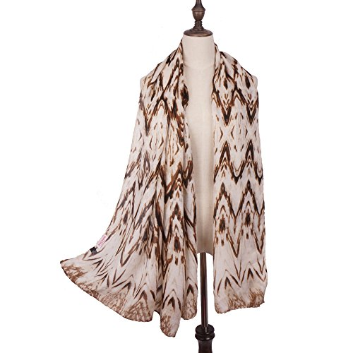 RiscaWin Lady Fashion Contrast Color Zigzag Pattern Print Scarf Shawl Brown