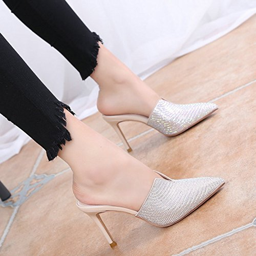 Drill Heeled Full Water Shoes Half By Baotou High Mr Slippers 39 8Cm Cool GTVERNH Drills Apricot Down Sexy Tips Broken Slippers 6AqBw