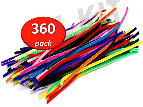 (Edukit Jumbo Pack Of 360 Pipe Cleaners/Chenille Stems 12 inch x 6 mm - 14 Colors - Inc. Fluorescent Colours)