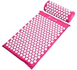 ProSource Acupressure Mat and Pillow Set for Back/Neck Pain Relief and Muscle Relaxation, Pink