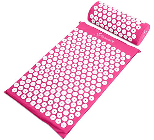 ProSource Acupressure Mat and Pillow Set for Back/Neck Pain Relief and Muscle Relaxation, Pink (Best Treatment For Pinched Nerve In Back)