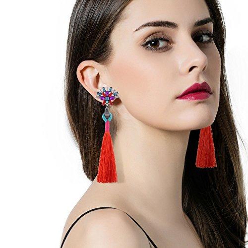 VANKER Femmes Mode Rétro Coloré Strass Long Franges Pendentif Boucles D'oreilles Rouge