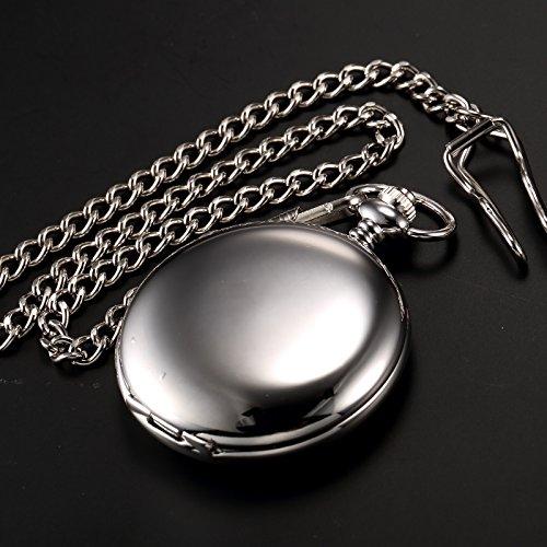 AMPM24 Vintage Silver Men's Women Ladies Quartz Pendent Pocket Watch Clock Chain Gift WPK027 by AMPM24 (Image #6)