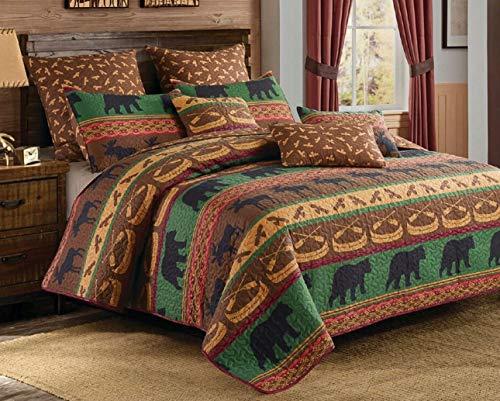 (Virah Bella Lodge Preserve 3pc King Size Quilt and Pillow Shams Set; Black Bear Moose Cabin Bedding)