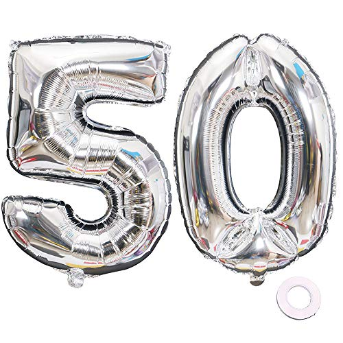 Jurxy Silver Number 50 Balloons Large Foil Mylar Balloons 40 Inch Giant Jumbo Number Balloons for Birthday Party Decorations