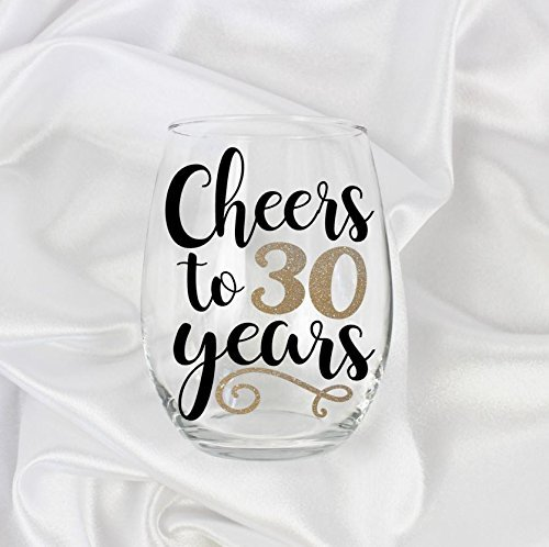 Cheers To 30 Years Stemless Wine Glass 21oz 30th Birthday Gift For Her 0012