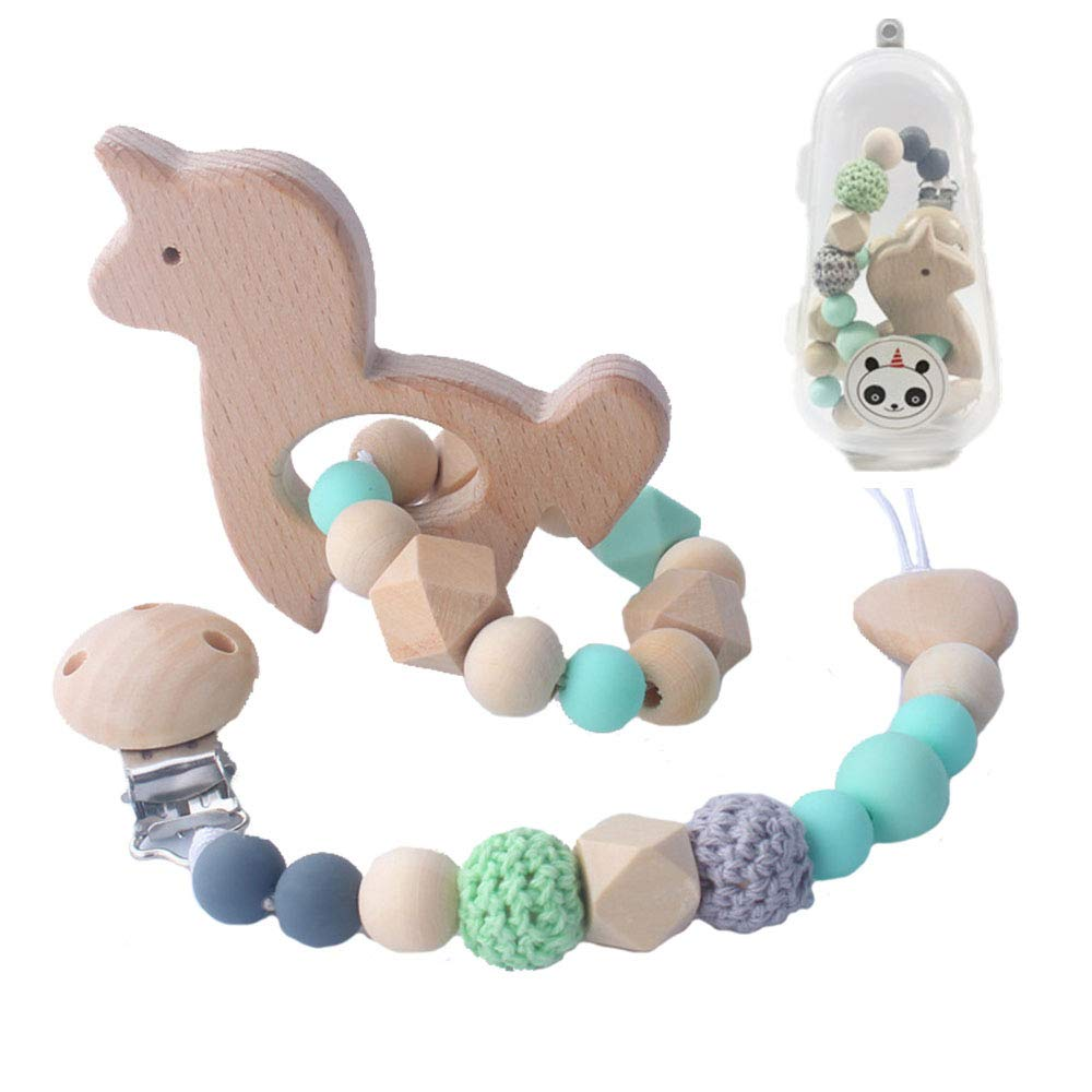 Green Natural Wooden Teether Rings Animal Teeth Nursing Soothing Toy Baby Wooden Bead Bite Molar Toy Pacifier and Pacifier Clip