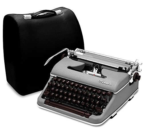 Professionally Restored Gray 1959 Olympia Typewriter SM4 S Vintage Antique Portable Manual Typewriter with Case (Like Grey SM3 De Luxe)