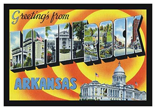 Greetings from Little Rock Arkansas, AR, Postcard Art, Vintage, Souvenir, Refrigerator, Travel, Locker Magnet 2 x 3 Fridge Magnet