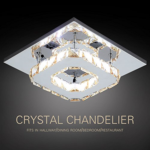 LAGRIMA Crystal Chandelier Mini Modern Square Flush Mount Ceiling Lamp,8.3 x8.3In,12W,Amber