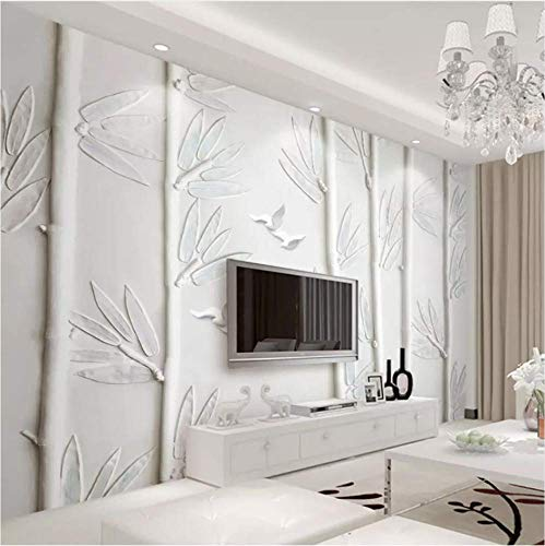 ATR European Style 3D White Plaster Embossed Bamboo Bird Photo Wallpaper Living Room TV Sofa Wall Decoration 3D Wall Drapery Towel, 260X180 cm (102.36X70.87 in)