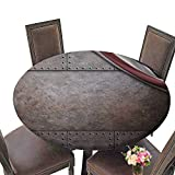 PINAFORE Picnic Circle Table Rust Steel Metal Texture with Rivets as Steam Punk for Family Dinners or Gatherings 55''-59'' Round (Elastic Edge)