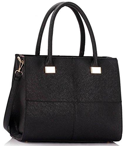 Ladies Designer Handbags Womens Large Fashion Bags Faux Leather Medium Large Extra Large Design 1 : Medium - Black