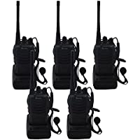 Blomiky 5 H-777 2 Way Radio UHF 400-470MHz 16CH CTCSS/DCS Flashlight with Earpiece Walkie Talkies H777 (5 Pack)