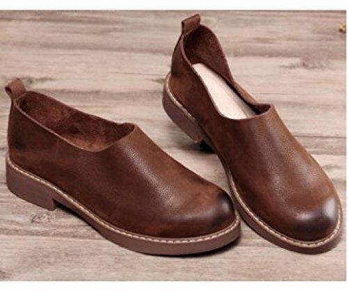 Schuhe Plattfüße Weichen ZFNYY Retro Einzelne Leder literarische Freizeitschuhe Handgemachte Schuhe zqP5fwqA