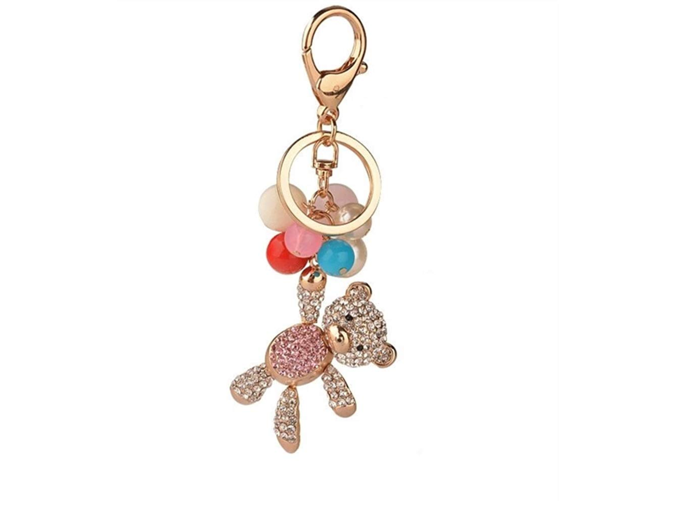 Yunqir Lightweight Balloon Bear Alloy Keychain Handbag Pendant Car Keyring for Women Lady Girls Decoration (Pink)