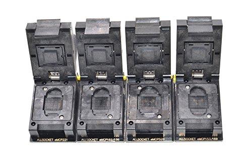 ALLSOCKET eMMC/eMCP-6in1 SD Adapter Kit BGA153/169, BGA162/186, BGA221, BGA529 Socket FBGA Flash Mobile Memory eMMC Programming Chip-off Data Extractor Reader(4pcs/Kit)