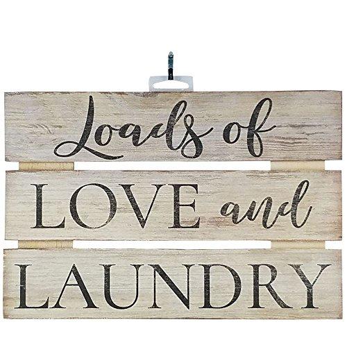 "Imprints Plus Love Laundry Inspirational Reclaimed Wood Sign, 12"" x 8"" Rustic Wall Decor Plaque Hangers Bundle 12500012"