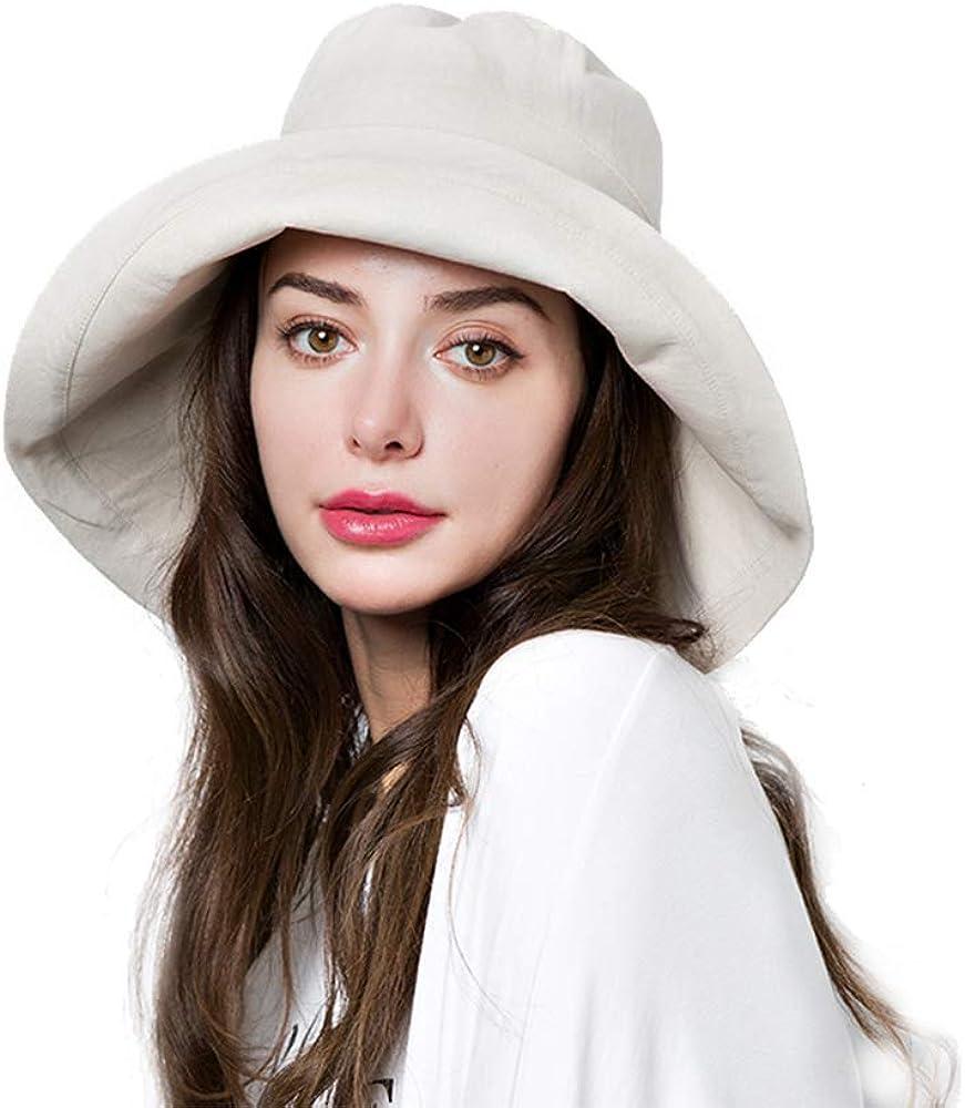 Bucket Sun Hat Women Floppy Cotton Hats Wide Brim Summer Beach Fishermans Caps SPF 50 UV Packable