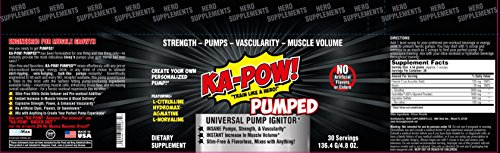 KA-POW! PUMPED Universal Pump Powder INSTANT PUMP AND MUSCLE VOLUMIZER Stimulant-Free & Flavorless mix to any preworkout or energy drink TO CREATE YOUR PERFECT PUMP!, 4.8 oz