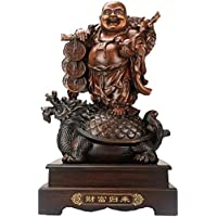 LIN-rlp Feng Shui Laughing Buddha Statue Ornament Figurines Home Office Decoration Bless Prosperity and Wealth for Gift