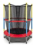 55'' Round Kids Mini Trampoline with Enclosure Net Pad Rebounder Outdoor Exercise