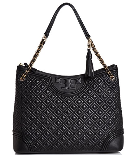 UPC 190041264575, Tory Burch Fleming Quilted Leather Tote Bag, Black $595.00