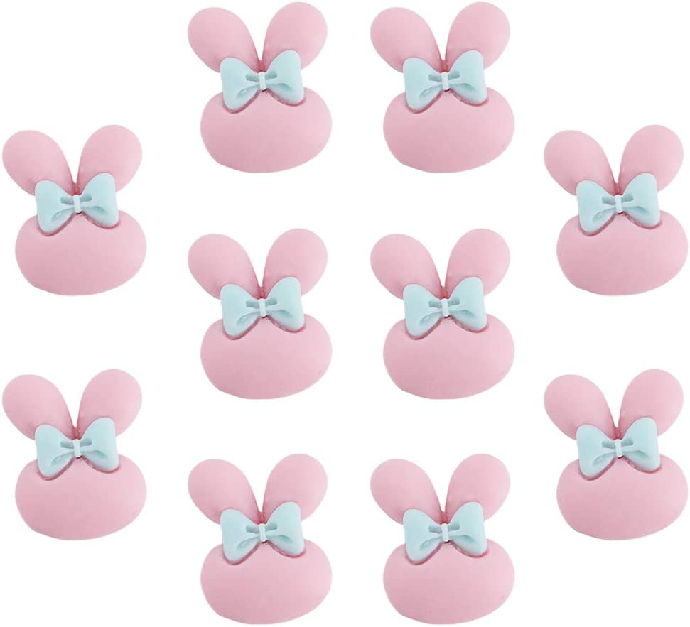 Jascaela 10 Pcs Cute Rabbit Refrigerator Magnets Bowknot Flower Colorful Fridge Stickers Lockers Door Map Office Whiteboard Home Decor Gift Pink Bunny