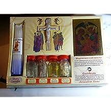Souvenir Set Jerusalem:jordan River Water,incense,soil,olive Oil and Jesus Cross