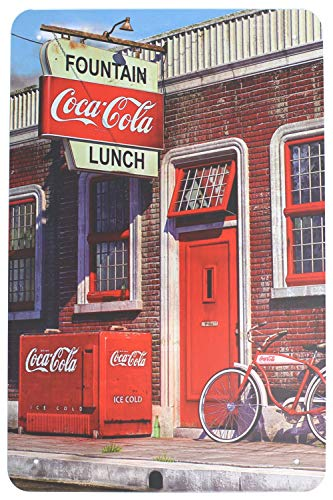 Laurenycy Tin Sign Quality Fountain Coca-Cola Lunch Metal Sign Vintage Garage Home Decor 8X12 INCH