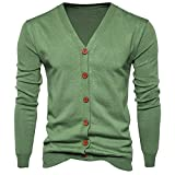 iYYVV Mens Button Down V Neck Long Sleeve Knit Sweater Cardigan Coat Tops