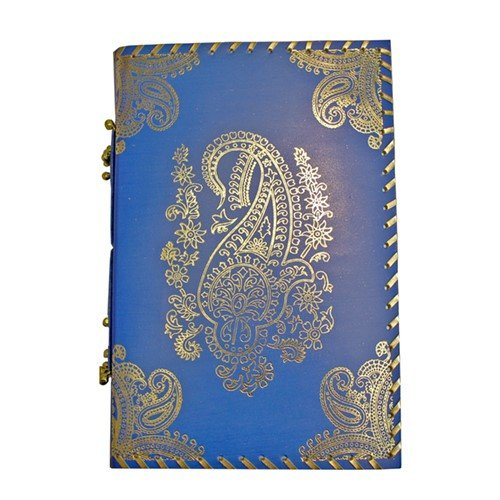 GOLD FOIL EMBOSSED BLUE LEATHER JOURNAL WITH BEADS 6x1x9''H