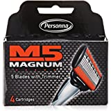 M5 Magnum Razor cartridge Blades with Trimmer, 4 Count Refill Blades (2 Pack)