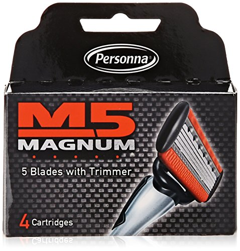 M5 Magnum Razor Cartridge Blades with Trimmer, 4 Count Refill Blades (2 Pack) ()