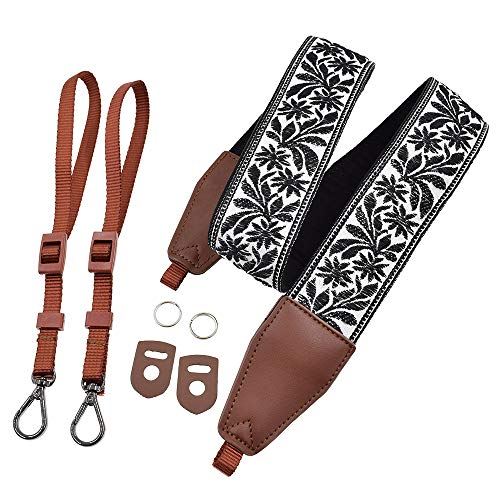 - LIFEMATE Camera Strap Shoulder Neck Belt for All SLR/DSLR (Black Floral Patterns)